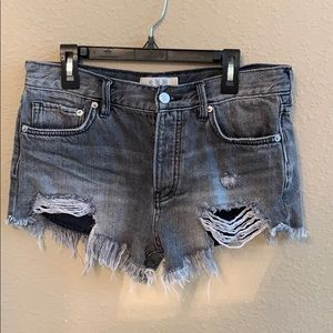 Free people size 25 black denim shorts